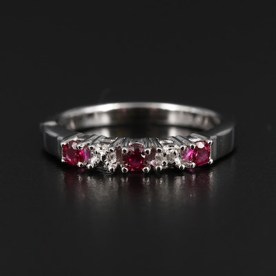 Sterling Silver Synthetic Ruby Ring with Diamond Accents