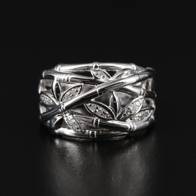 Sterling Silver Diamond Bamboo Ring