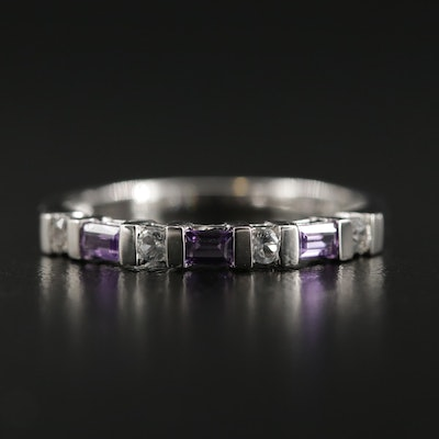 Sterling Silver Amethyst and Synthetic Sapphire Ring