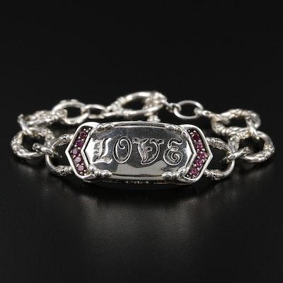 SeidenGang Sterling Silver Rhodolite Garnet Bracelet