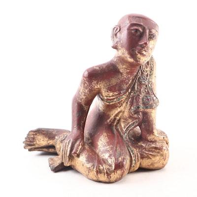 Burmese Mandalay Style Sariputra Giltwood Figure with Glass Inlay, 19th Century