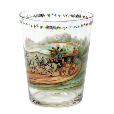 Czechoslovakian Hand-Painted Glass Centerpiece, Early 20th Century