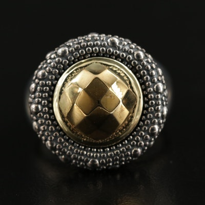 Sterling Silver Faceted Dome Ring