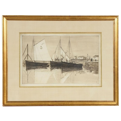 Henri Charles Guerard Harbor with Sailboats Etching, Late 19th Century