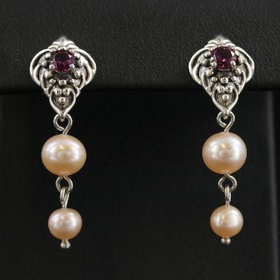 Sterling Silver Rhodolite Garnet and Pearl Earrings