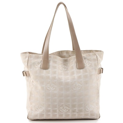 Chanel Beige Jacquard Travel Line Tote Bag