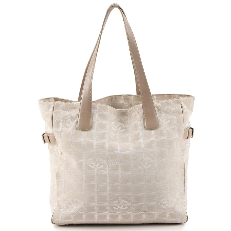 Chanel Beige Jacquard Travel Line Tote Bag