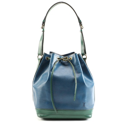 Louis Vuitton Noé Bag in Blue Epi Leather with Green Trim
