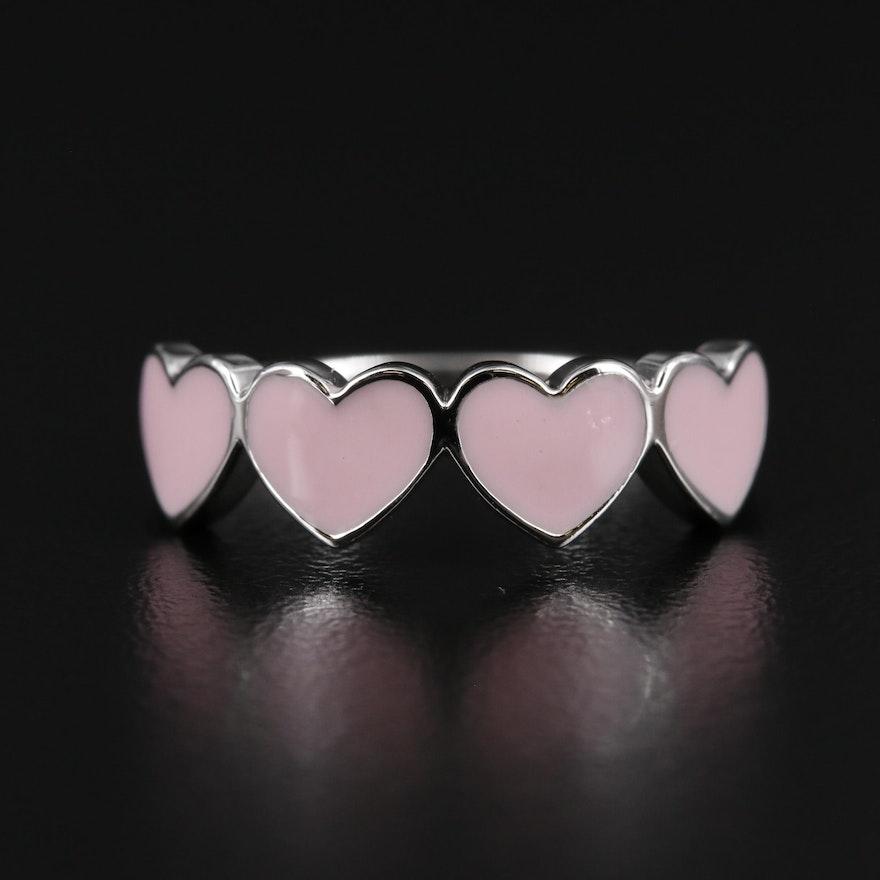 Sterling Silver Pink Enamel Heart Ring