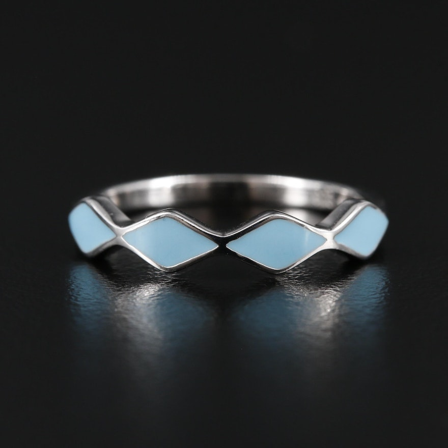 Sterling Silver Blue Enamel Trapezoid Ring