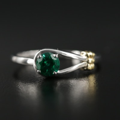 Sterling Silver Synthetic Emerald Knot Ring