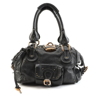 Chloé Paddington Black Grained Leather Satchel