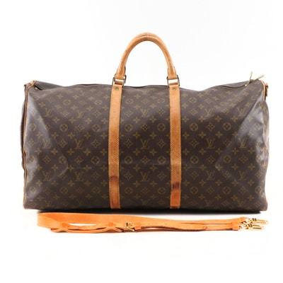 Louis Vuitton Keepall 60 in Monogram Canvas and Leather with Bandouliere Strap