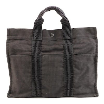 Hermès Herline Fourre-Tout MM Gray and Black Tote