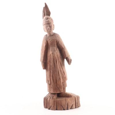 Burmese Carved Teak Standing Primitive Figure, 19th Century