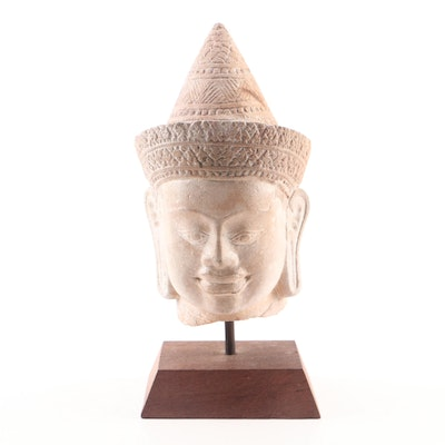 Cambodian Head of Buddha Sandstone Carving on Wood Base