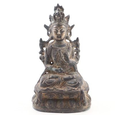Tibetan Ratnasambhava Cast Bronze Figure, 20th Century