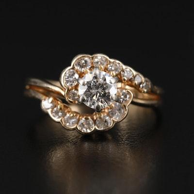 14K Gold 1.00 CTW Diamond Bypass Ring