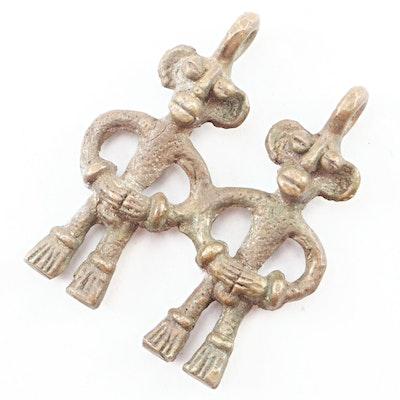 West African Senufo Twin Spirit Brass Amulet, 20th Century