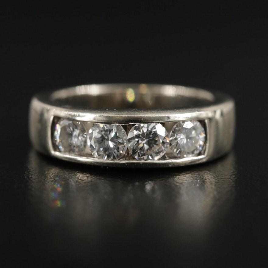 14K White Gold 1.00 CTW Diamond Band
