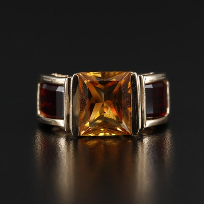 14K Gold Citrine and Garnet Ring