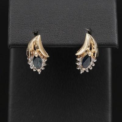 14K Gold Sapphire and Diamond Earrings