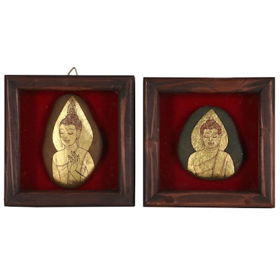Thai Buddha Gilt and Ink Paintings on Polished Stones