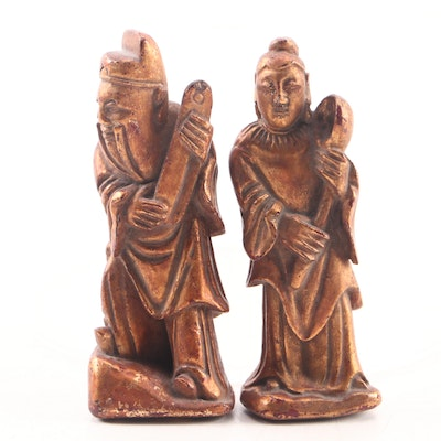 Chinese Giltwood Scholar and Courtesan Figures