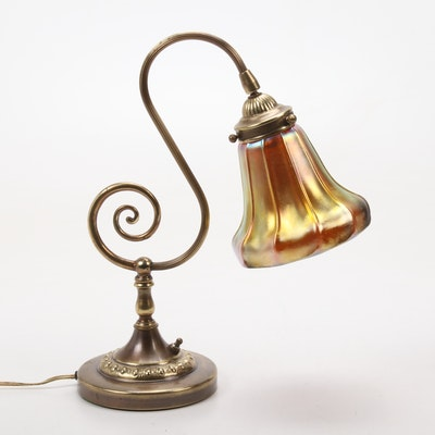 Desk Lamp with Steuben Style Aurene Glass Shade