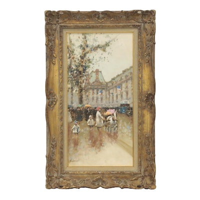 Andre Gisson Oil Painting of Parisian Street Scene