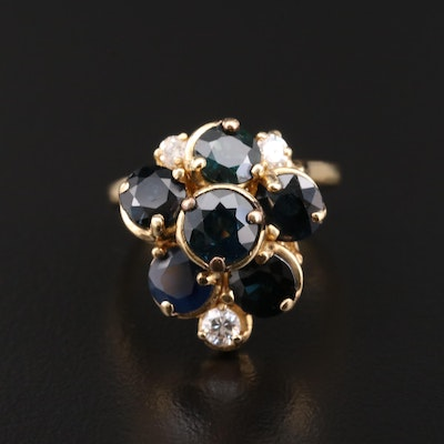 18K Gold Sapphire and Diamond Cluster Ring