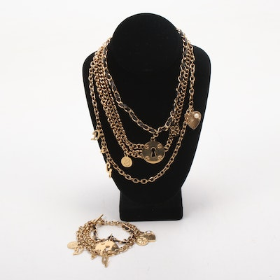 Dolce and Gabbana Gold Tone Multistrand Necklace and Bracelet
