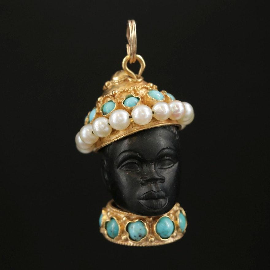 18K Gold Black Ebony, Turquoise and Pearl Blackamoor Motif Pendant