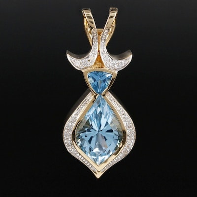 18K Gold Blue Topaz and Diamond Enhancer Pendant