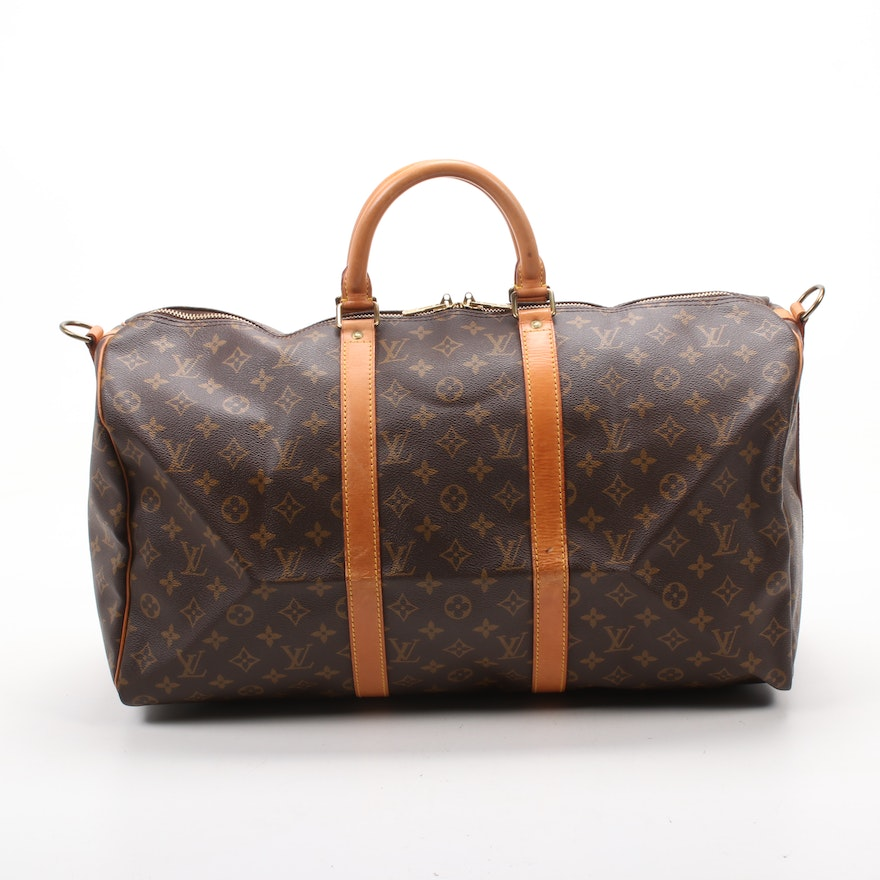 Louis Vuitton Keepall Bandoulière 50 Duffle Bag in Monogram Canvas and Leather