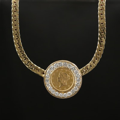 UnoAErre 14K Gold 1.01 CTW Diamond Necklace with 1852 Liberty Head Coin