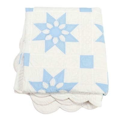 Handmade Pennsylvania Amish Blue and White Cotton Patchwork Quilt, 1970s