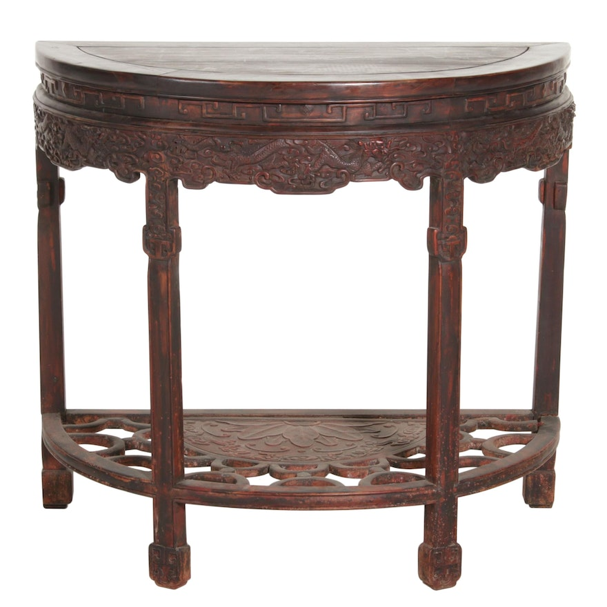 Chinese Dragon Motif Hardwood Demilune Console Table, First Half 20th Century
