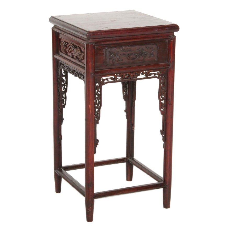 Chinese Carved Red Lacquered Wood Side Table, 20th Century