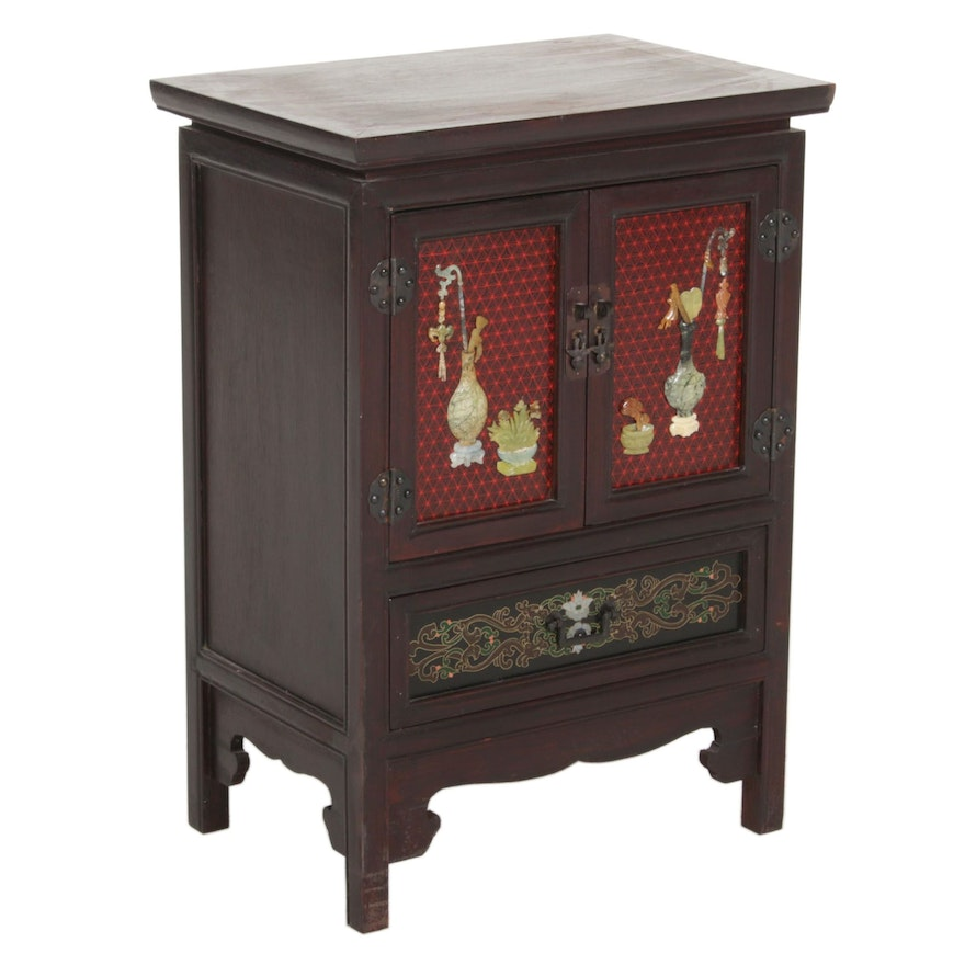 Chinoiserie-Decorated and Stone-Mounted Side Cabinet