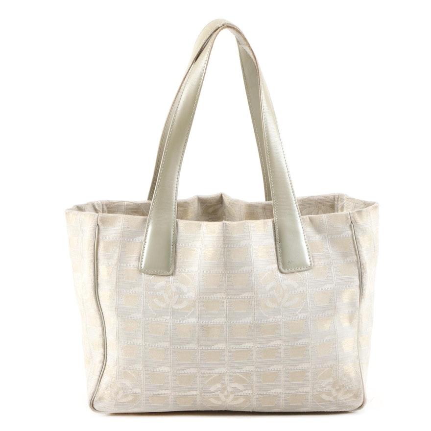 Chanel Jacquard Travel Line Shoulder Tote with Leather Straps