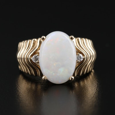 14K Yellow Gold Diamond and Cultured Pearl Ring