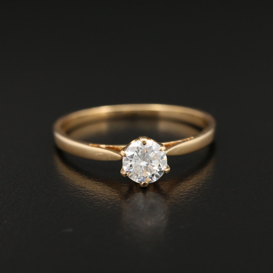 18K Gold 0.40 CT Diamond Solitaire Ring