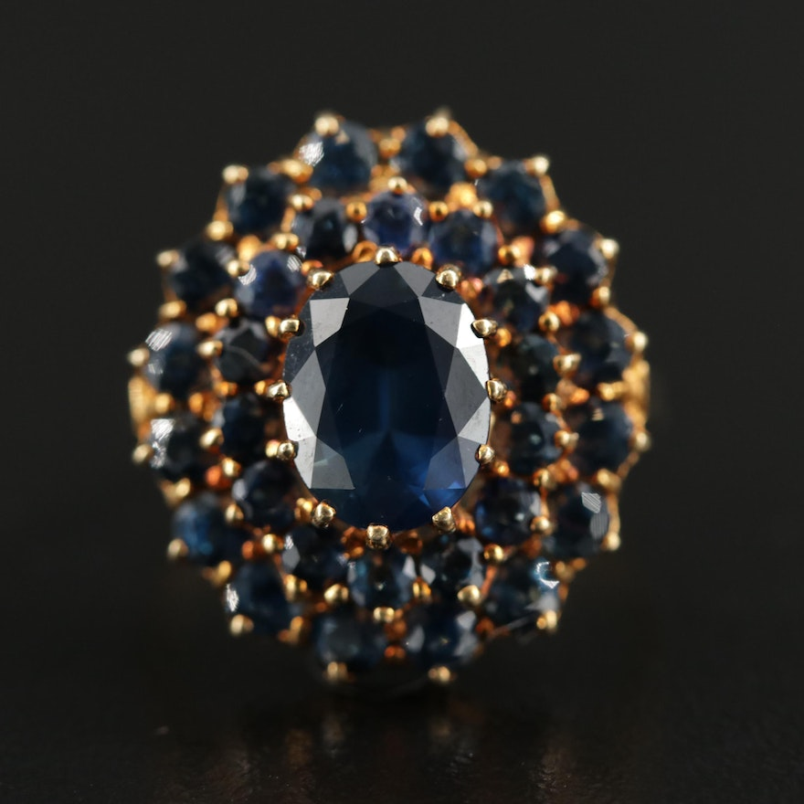 14K Gold Sapphire Cluster Ring with 2.80 CT Center Stone