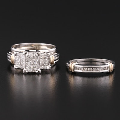 10K and 14K Gold Diamond Ring and Band