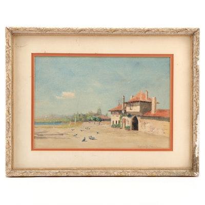 R. W. Van Boskerck European Coastal Watercolor Painting