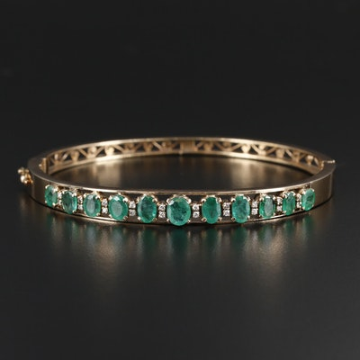 14K Gold Emerald and Diamond Bangle Bracelet