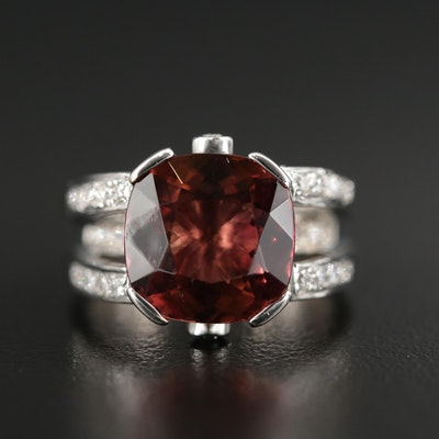 18K Gold 5.20 CT Tourmaline and Diamond Ring