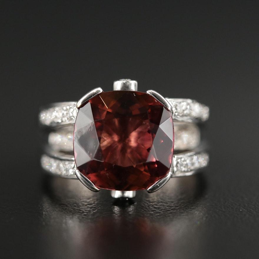18K Gold 5.20 CT Tourmaline and Diamond Ring