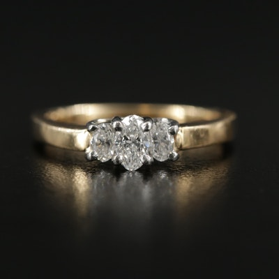 14K Gold Diamond Three Stone Ring with Platinum Accents
